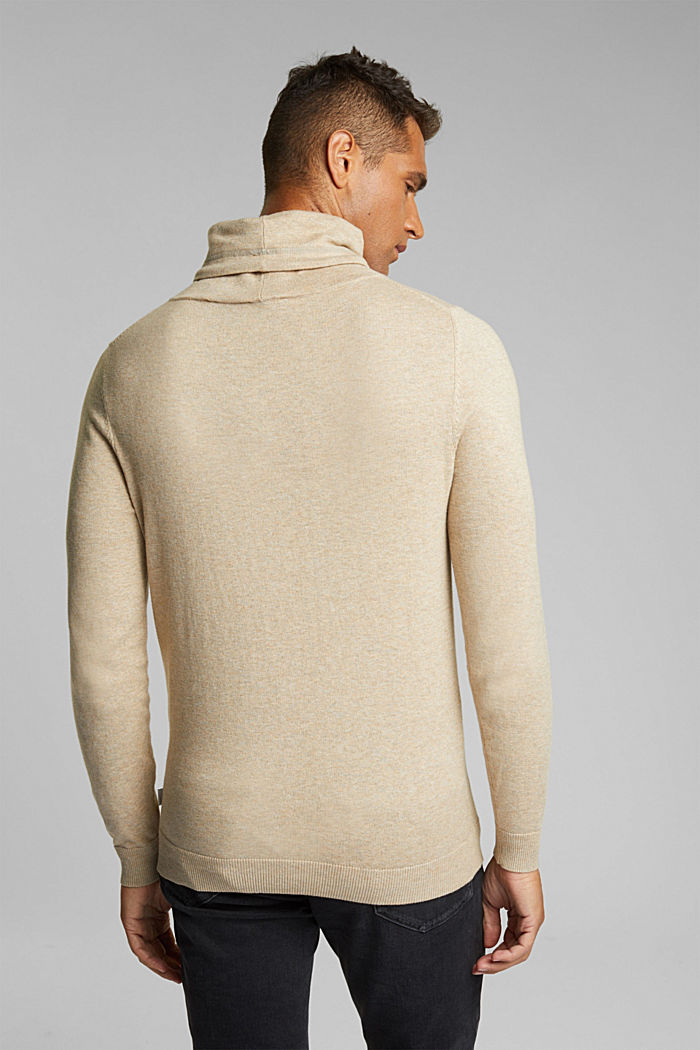 With cashmere: Jumper with a drawstring collar, LIGHT BEIGE, detail image number 3