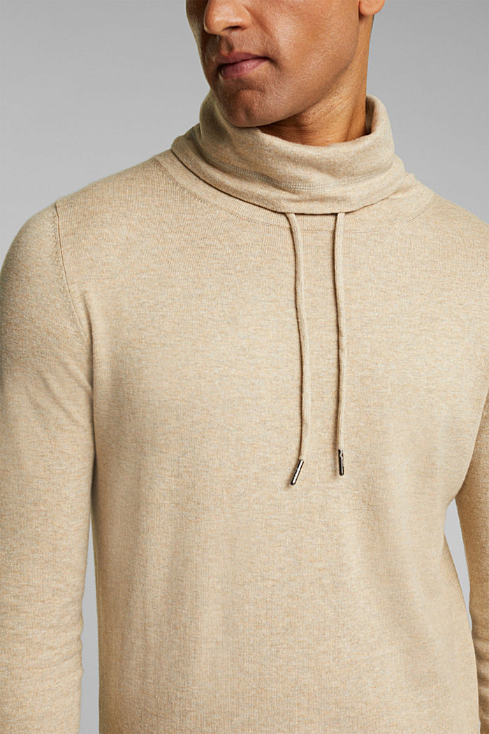 With cashmere: Jumper with a drawstring collar, LIGHT BEIGE, detail image number 2