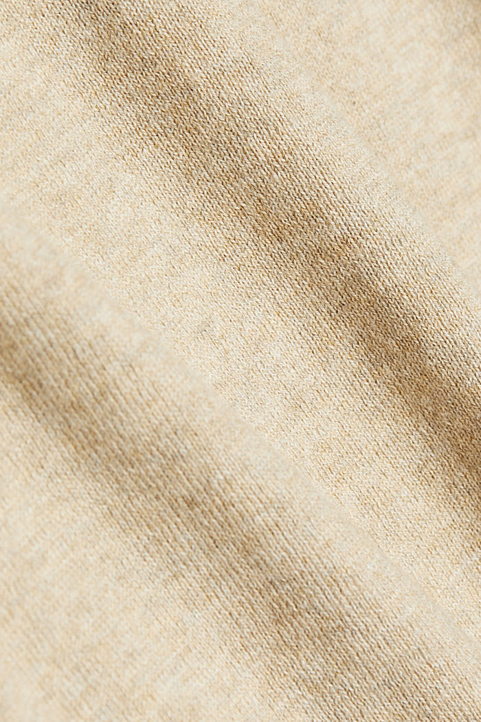 With cashmere: Jumper with a drawstring collar, LIGHT BEIGE, detail image number 4