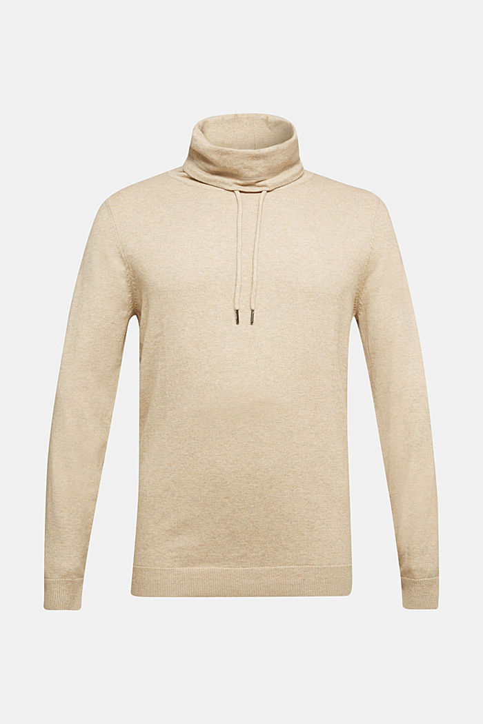 With cashmere: Jumper with a drawstring collar, LIGHT BEIGE, detail image number 5