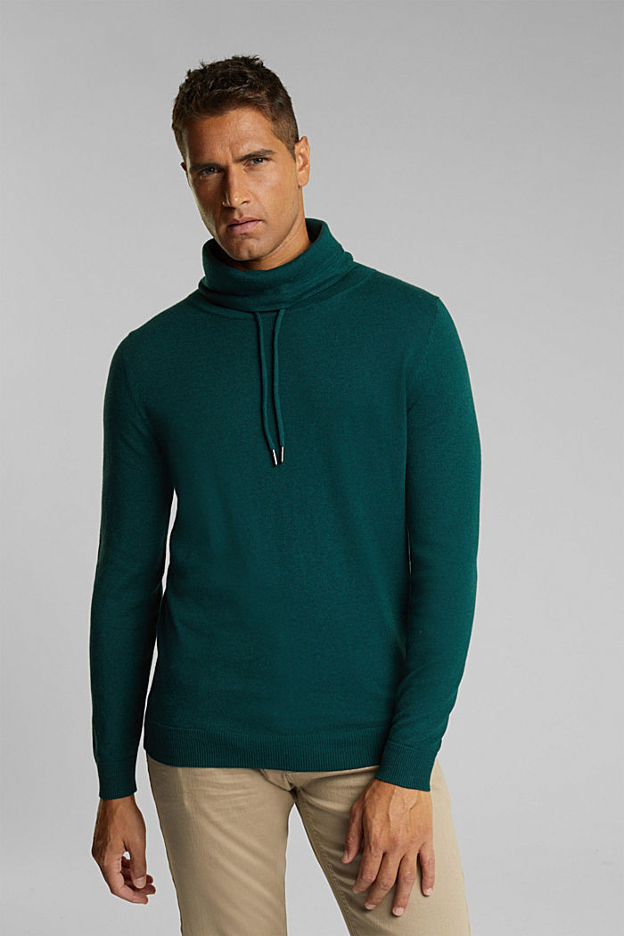 With cashmere: Jumper with a drawstring collar, BOTTLE GREEN, detail image number 0
