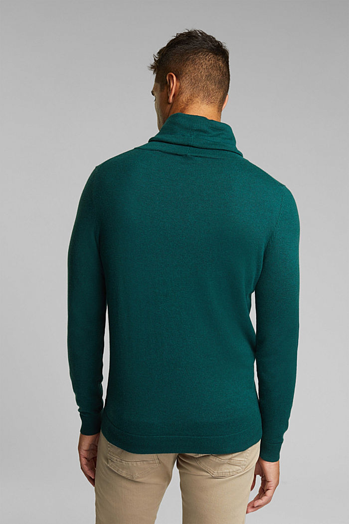 With cashmere: Jumper with a drawstring collar, BOTTLE GREEN, detail image number 3