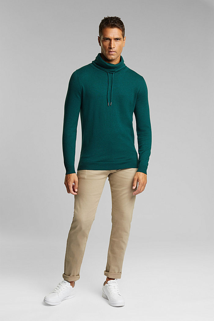 With cashmere: Jumper with a drawstring collar, BOTTLE GREEN, detail image number 1