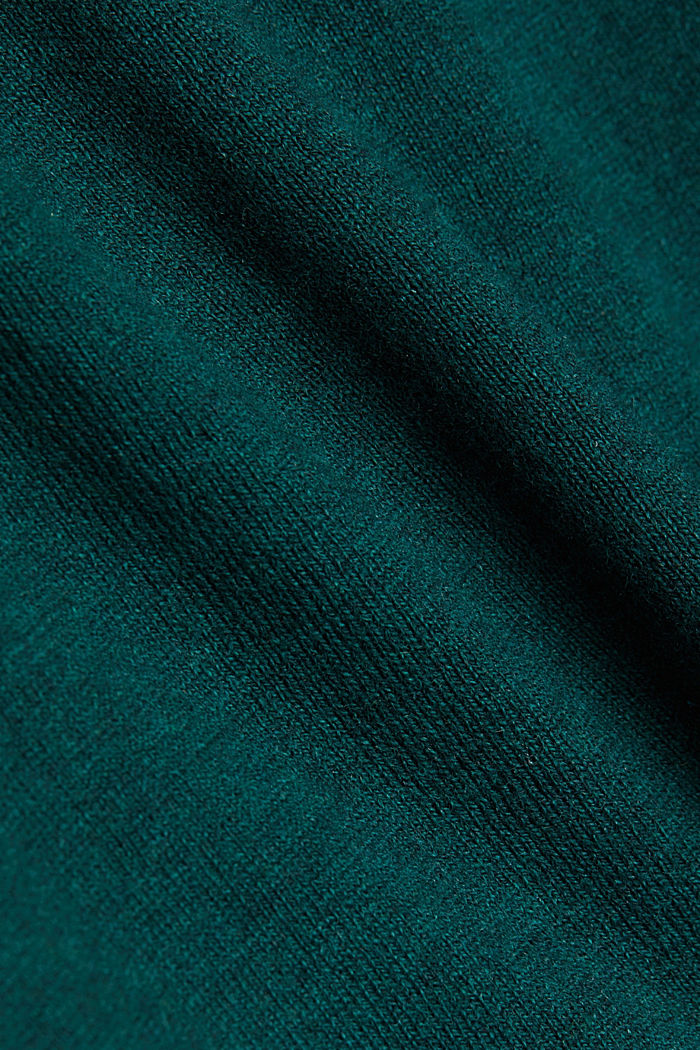 With cashmere: Jumper with a drawstring collar, BOTTLE GREEN, detail image number 4
