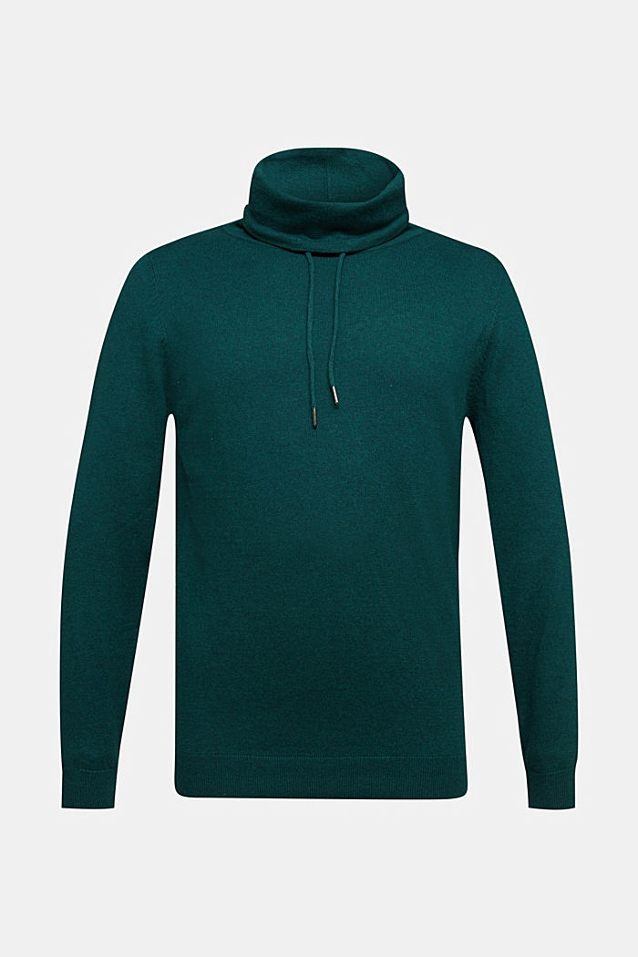 With cashmere: Jumper with a drawstring collar, BOTTLE GREEN, detail image number 5