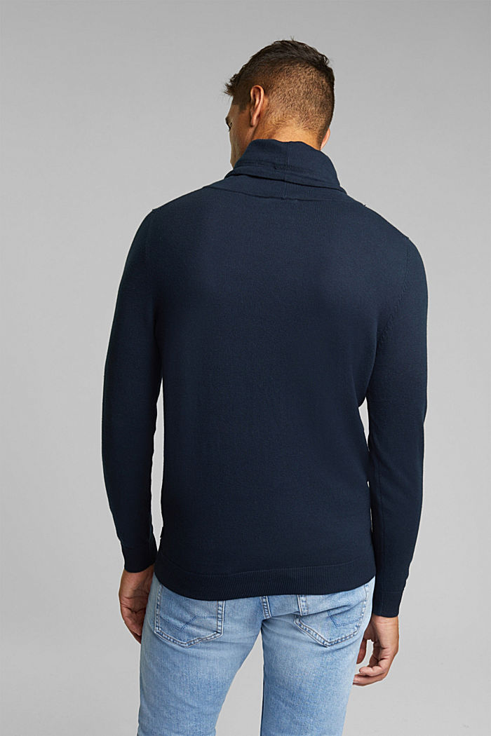 With cashmere: Jumper with a drawstring collar, NAVY, detail image number 3