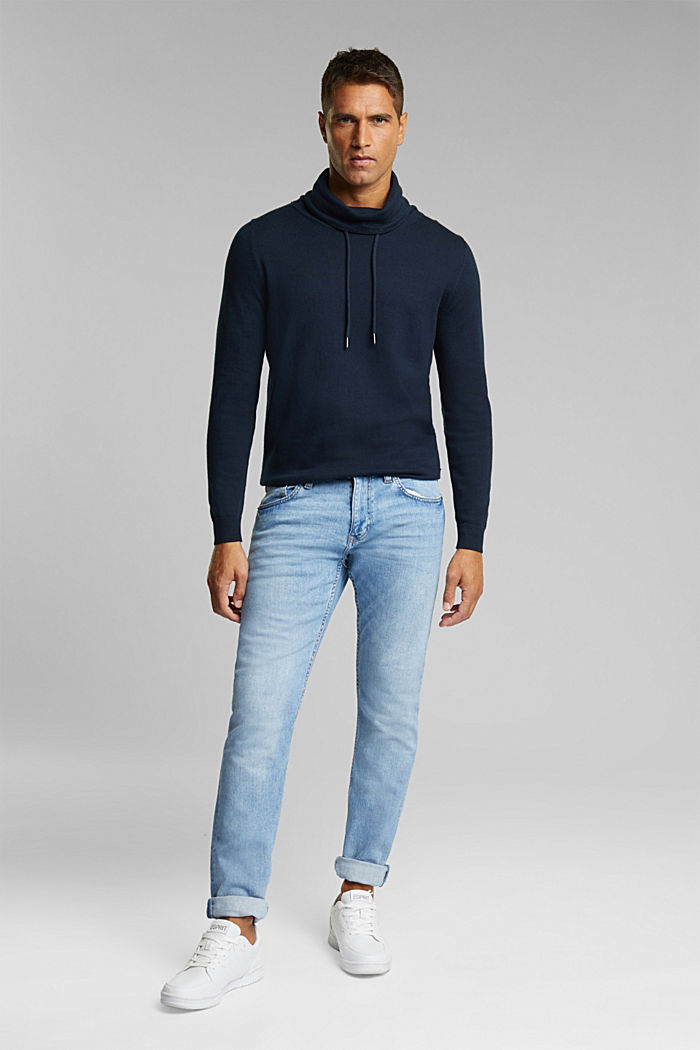 With cashmere: Jumper with a drawstring collar, NAVY, detail image number 1