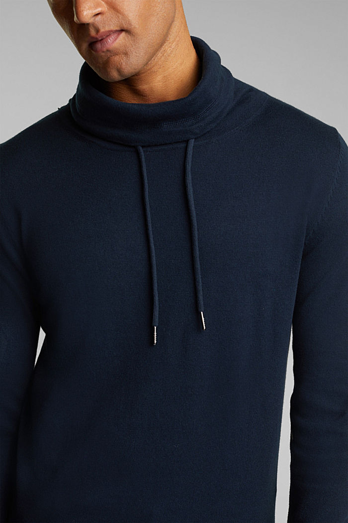 With cashmere: Jumper with a drawstring collar, NAVY, detail image number 2