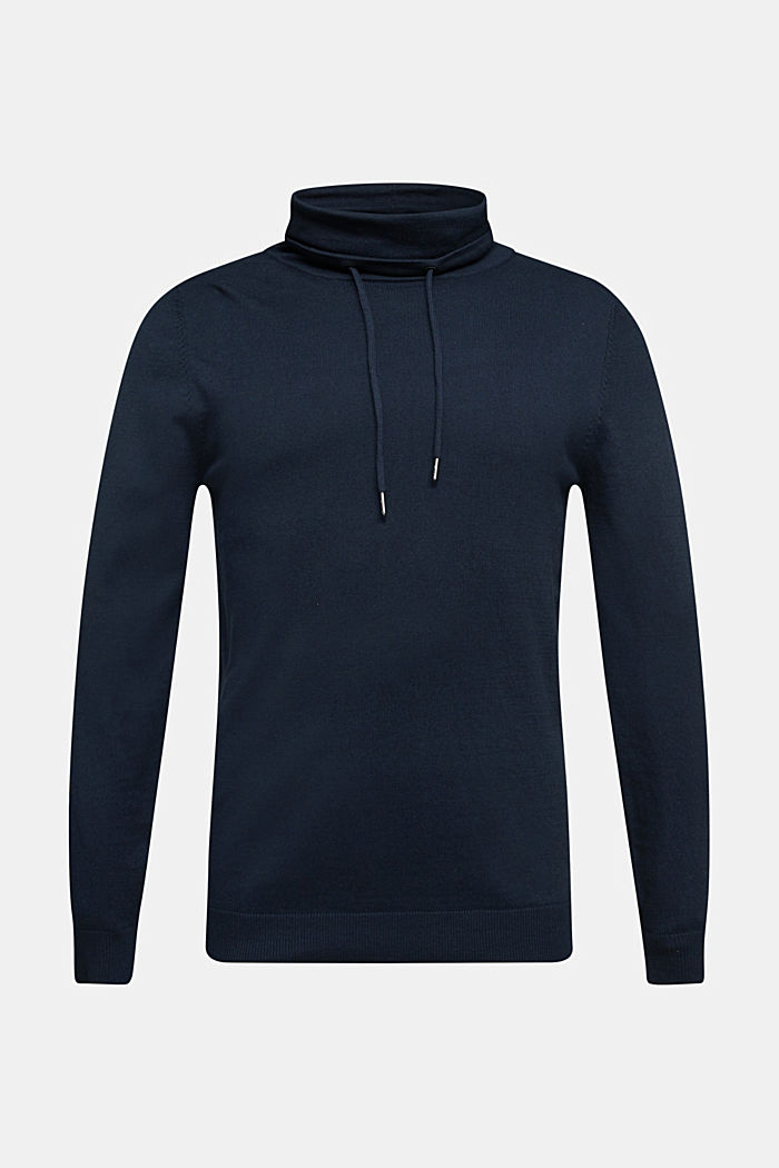 With cashmere: Jumper with a drawstring collar, NAVY, detail image number 5