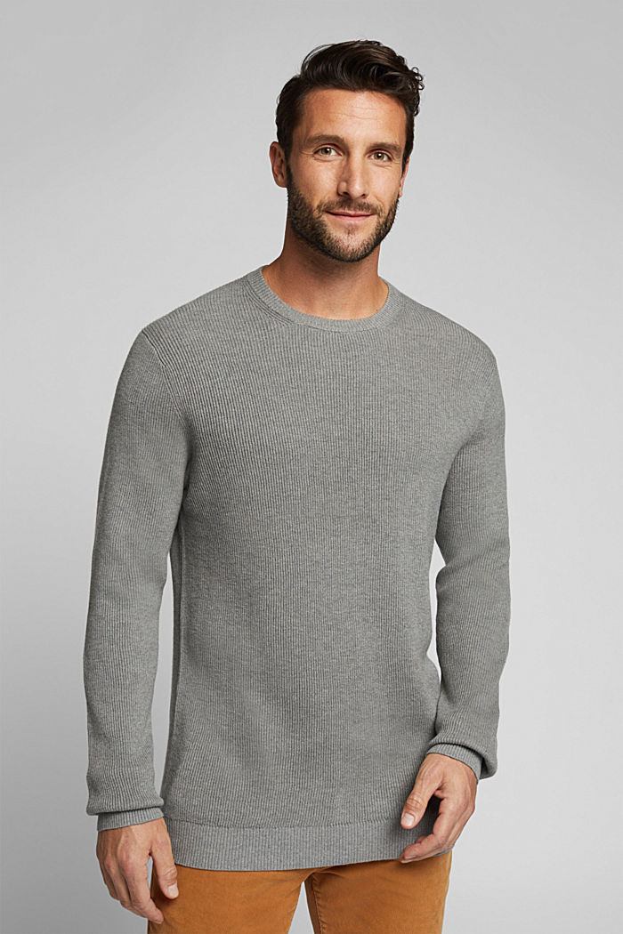 Mit Kaschmir: Rippstrick-Pullover, MEDIUM GREY, detail image number 0