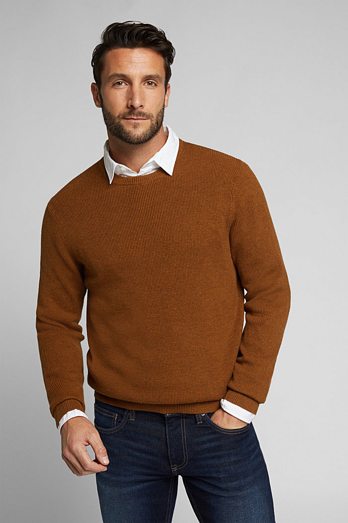 With cashmere: Rib knit jumper