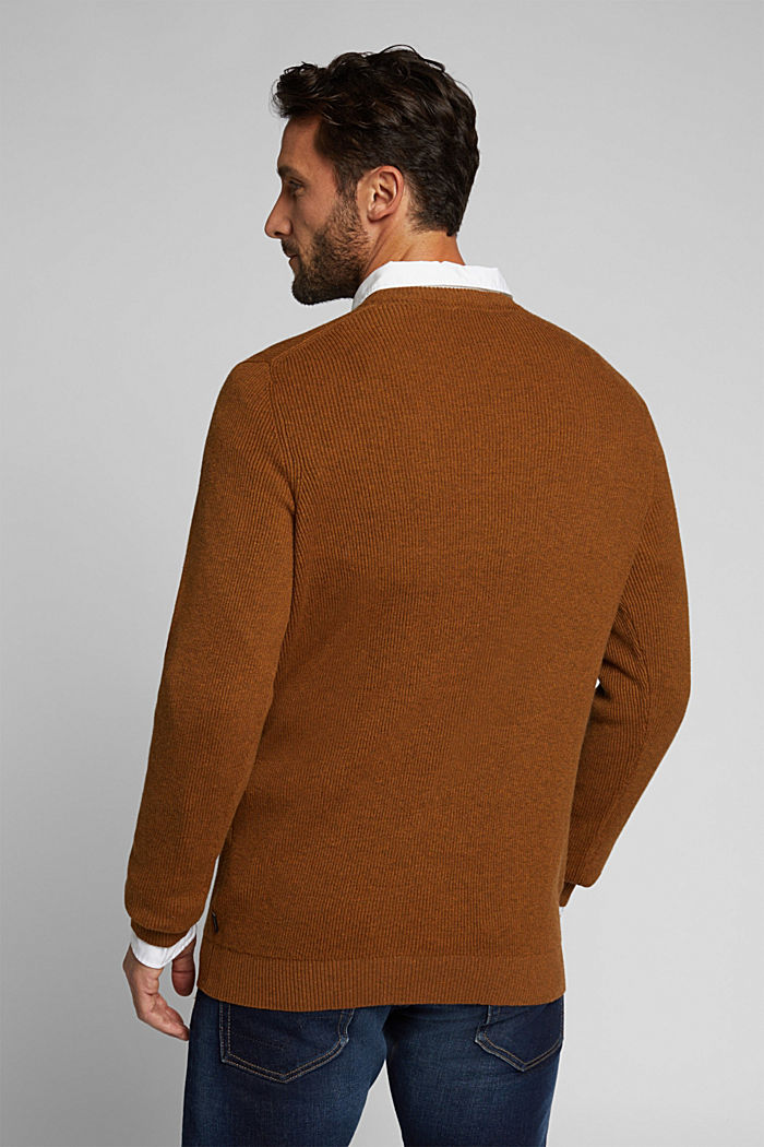With cashmere: Rib knit jumper, BARK, detail image number 3