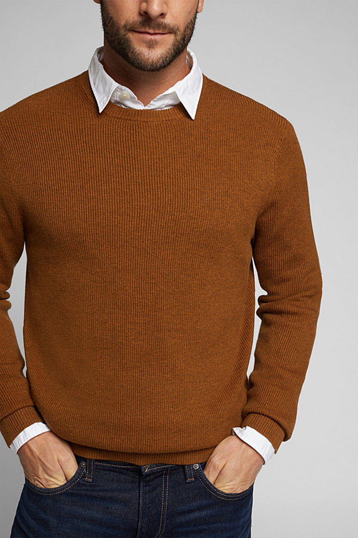 With cashmere: Rib knit jumper, BARK, detail image number 2
