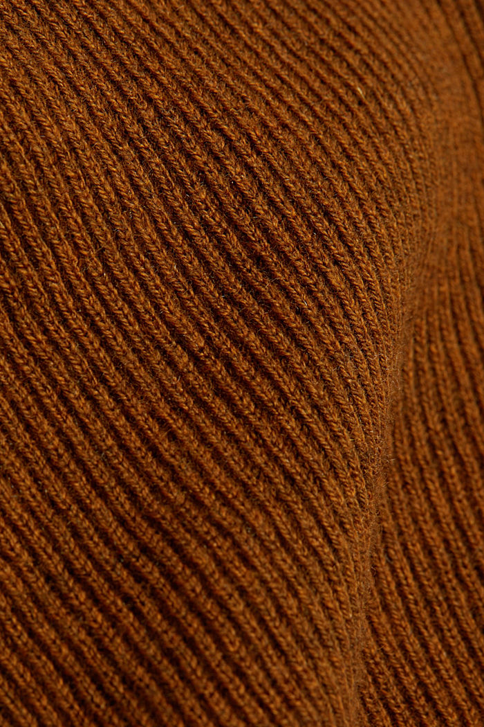 With cashmere: Rib knit jumper, BARK, detail image number 4