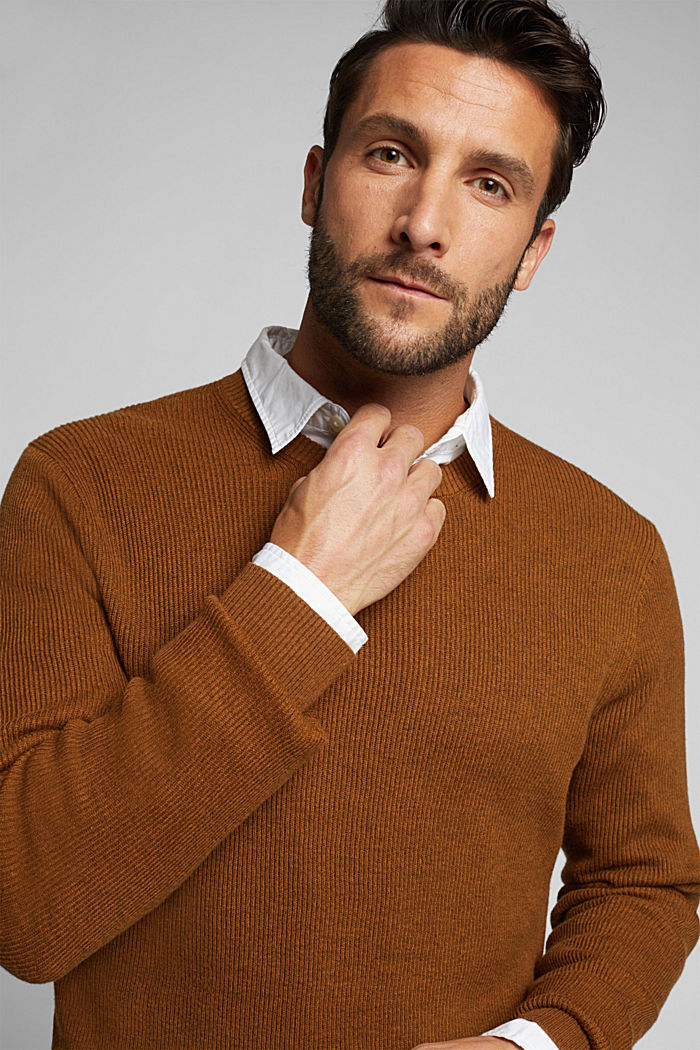 With cashmere: Rib knit jumper, BARK, detail image number 5