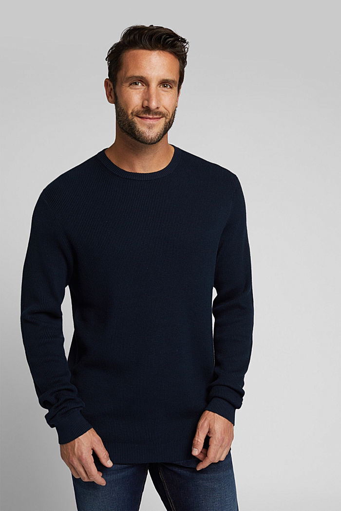 With cashmere: Rib knit jumper, NAVY, detail image number 0