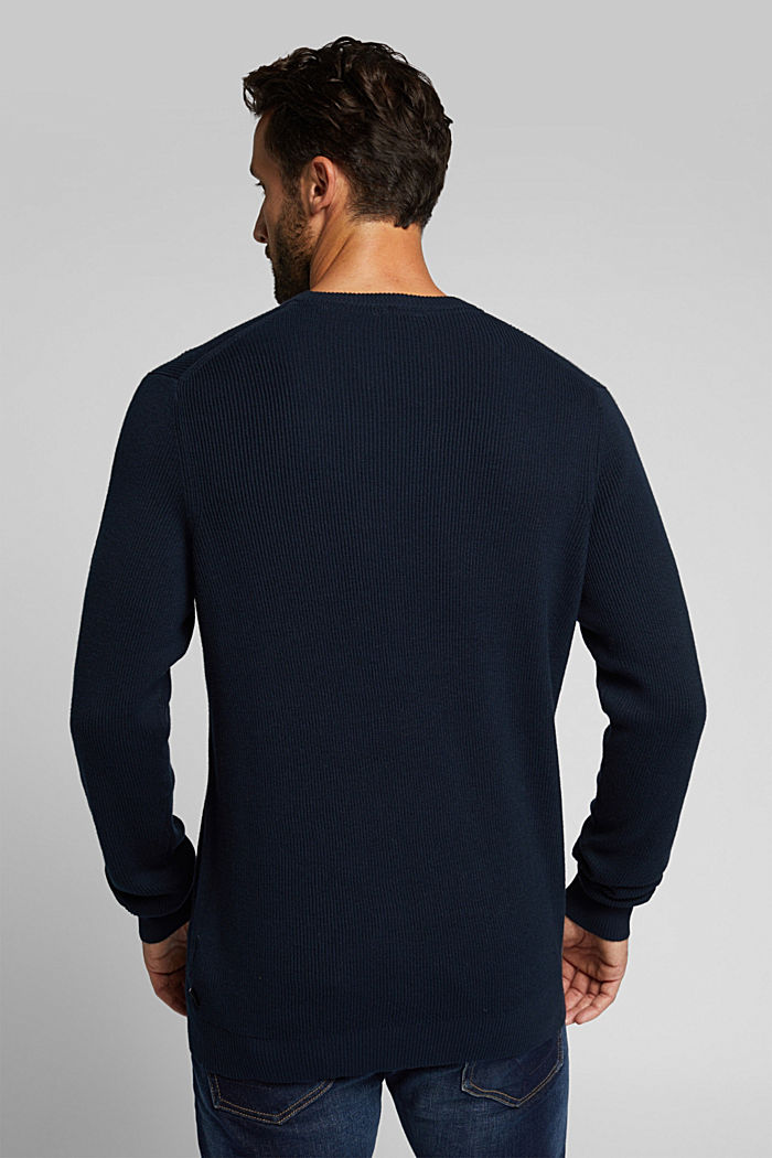 With cashmere: Rib knit jumper, NAVY, detail image number 3