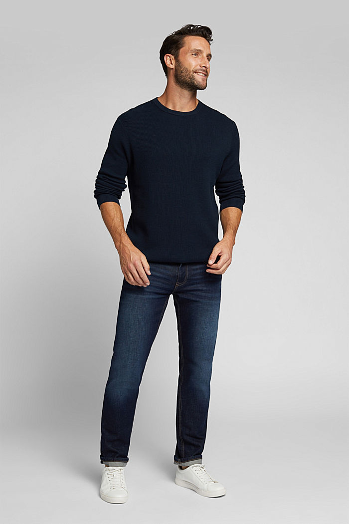 With cashmere: Rib knit jumper, NAVY, detail image number 1