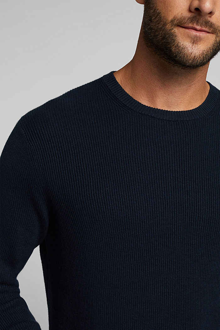 With cashmere: Rib knit jumper, NAVY, detail image number 2