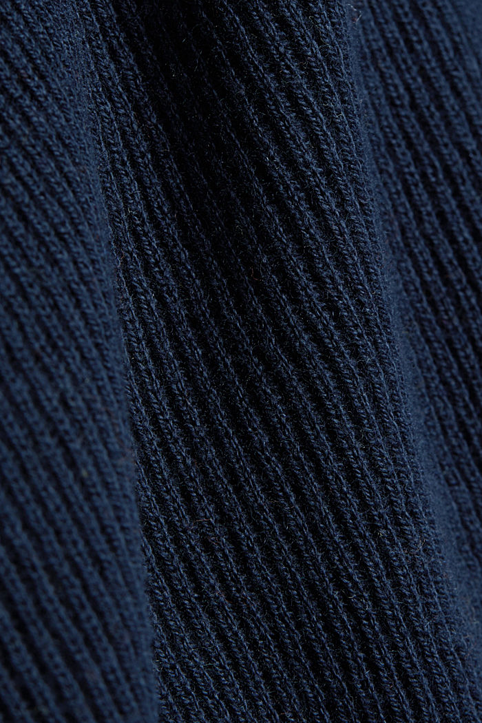 With cashmere: Rib knit jumper, NAVY, detail image number 4