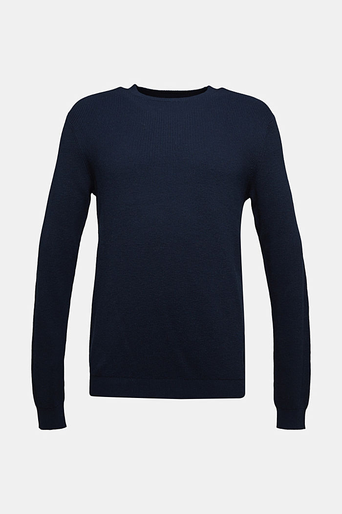 With cashmere: Rib knit jumper, NAVY, detail image number 5