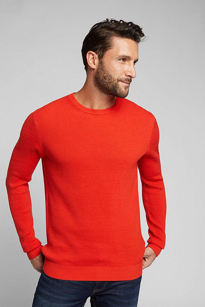 With cashmere: Rib knit jumper, BURNT ORANGE, detail image number 0