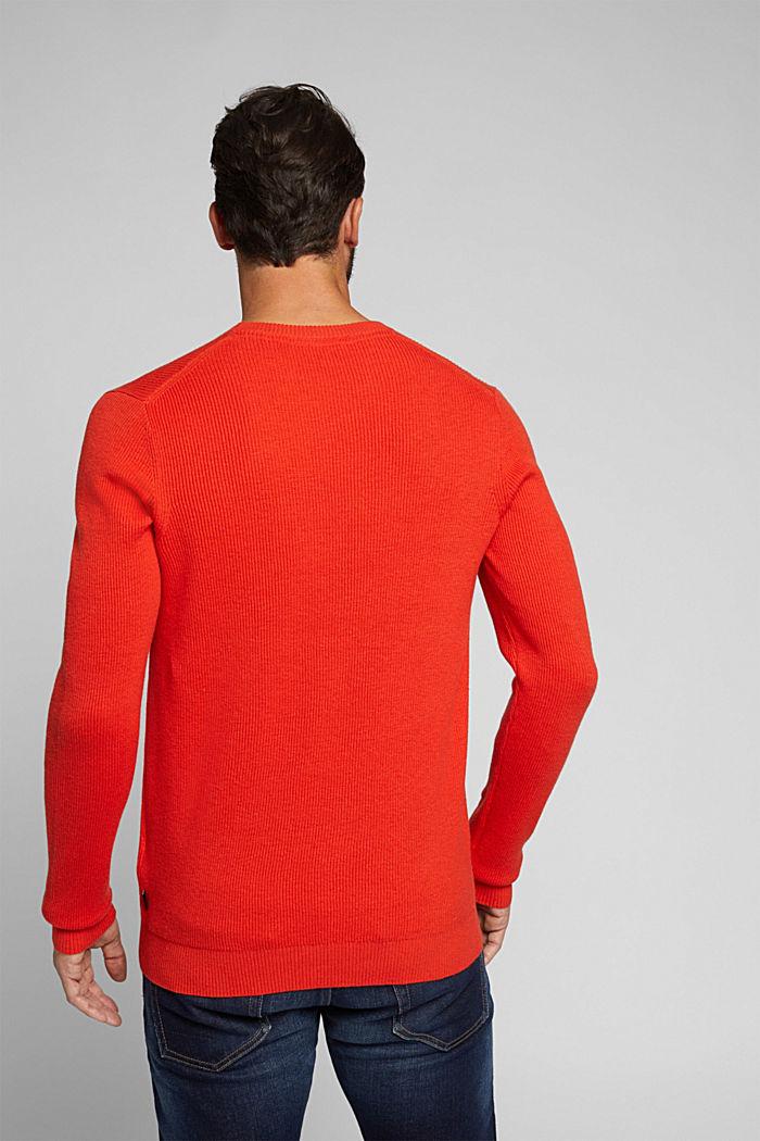 With cashmere: Rib knit jumper, BURNT ORANGE, detail image number 3