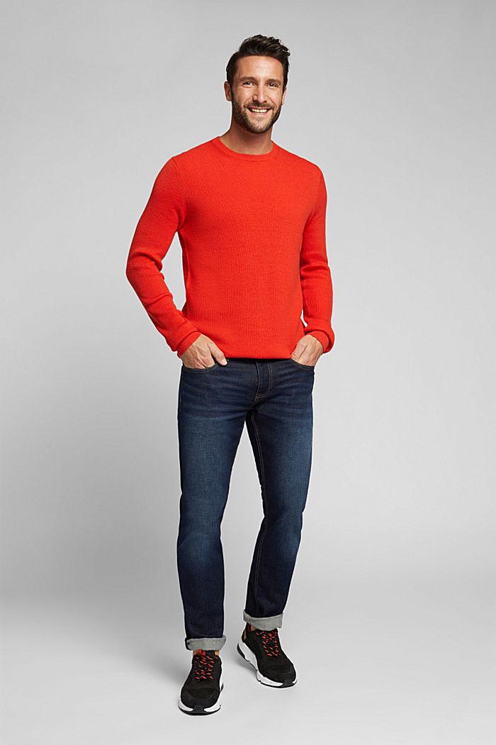 With cashmere: Rib knit jumper, BURNT ORANGE, detail image number 1