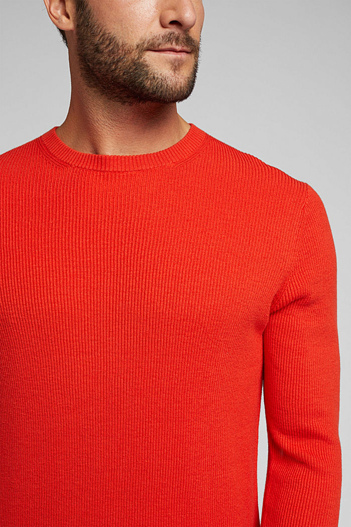 With cashmere: Rib knit jumper, BURNT ORANGE, detail image number 2