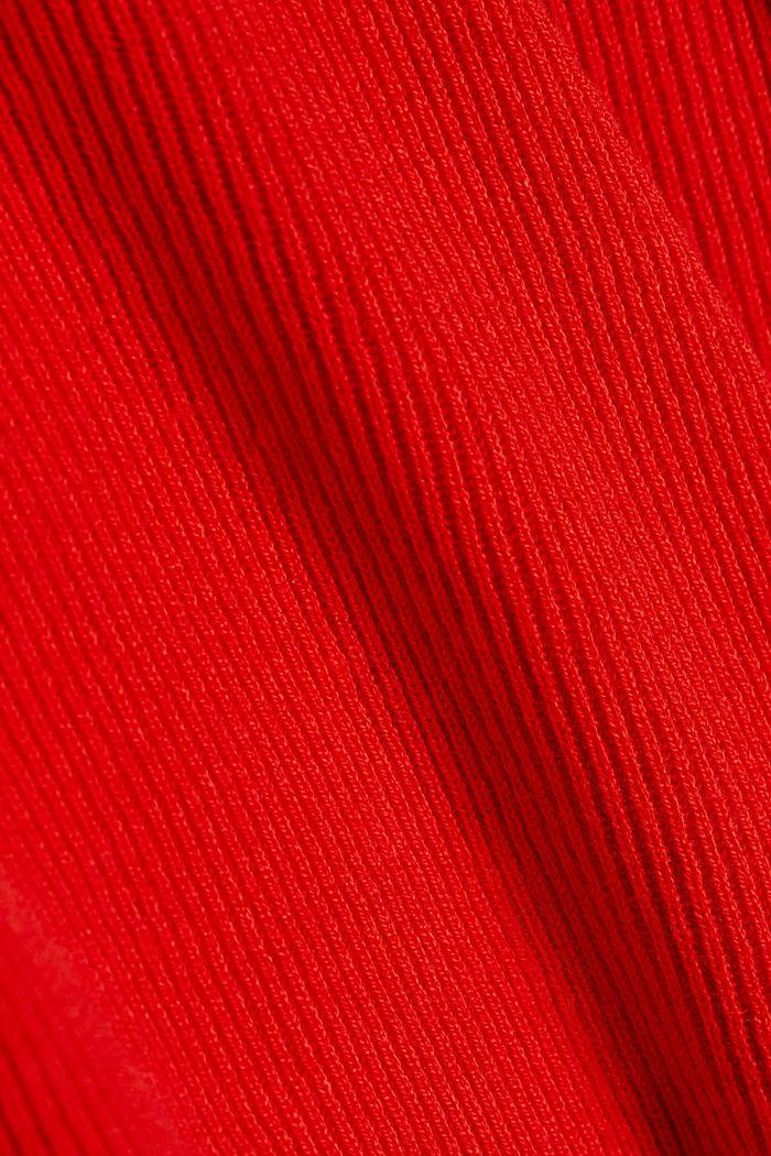 With cashmere: Rib knit jumper, BURNT ORANGE, detail image number 4