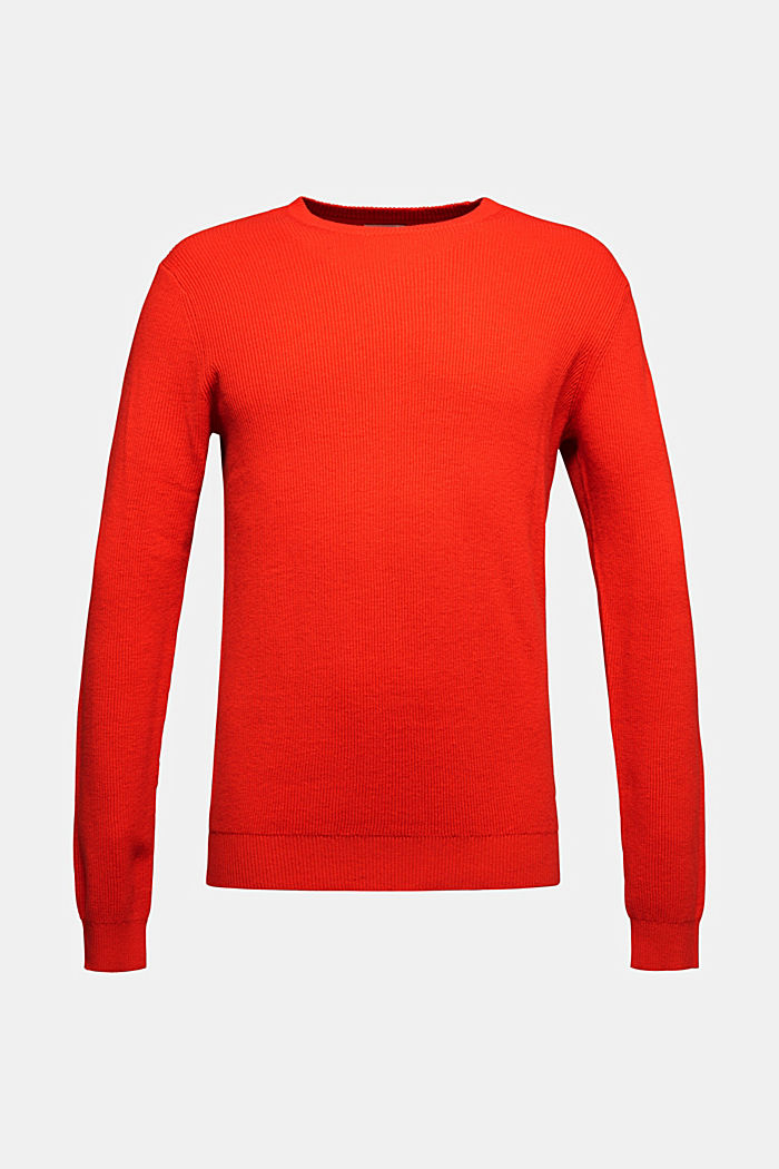 With cashmere: Rib knit jumper, BURNT ORANGE, detail image number 5