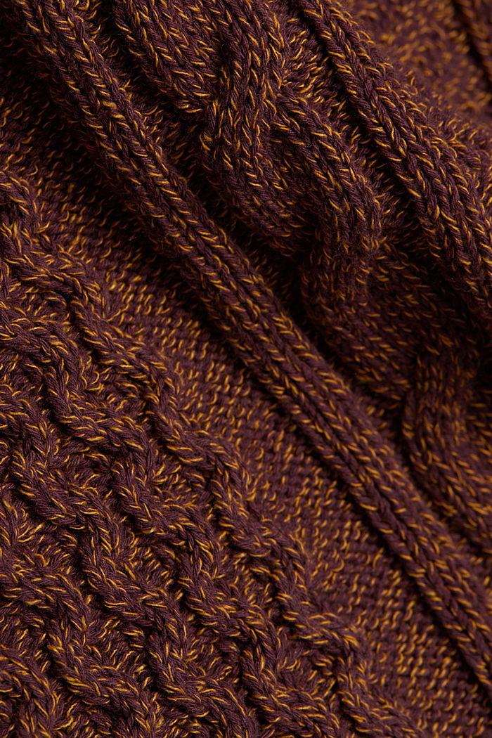 Recycelt: melierter Zopfstrick-Pullover, BARK, detail image number 4