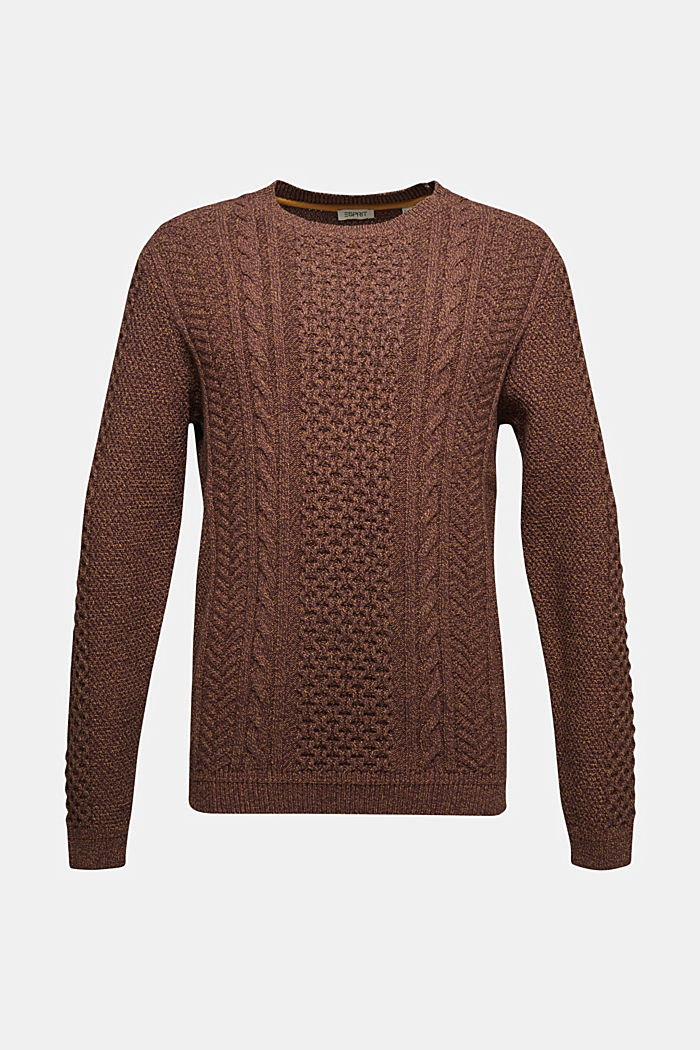 Recycled melange cable knit jumper, BARK, overview