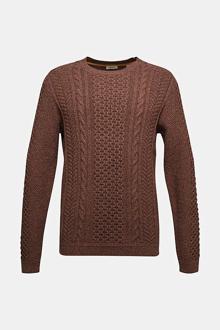 Recycelt: melierter Zopfstrick-Pullover