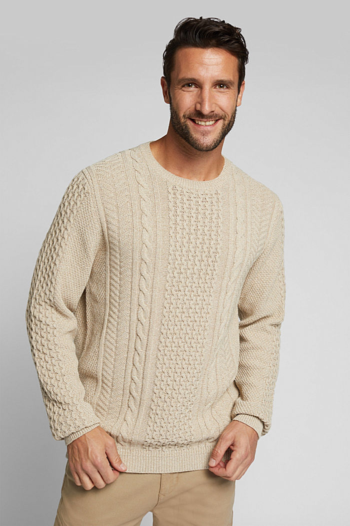 Recycled melange cable knit jumper, LIGHT BEIGE, overview