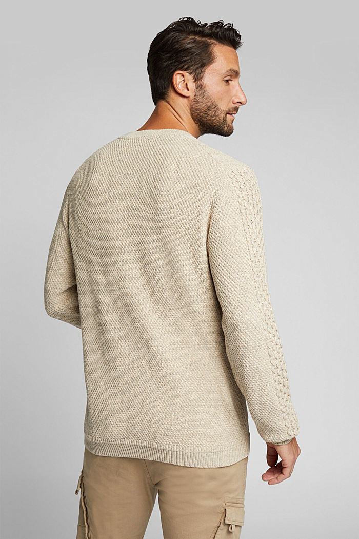 Recycled melange cable knit jumper, LIGHT BEIGE, detail image number 3