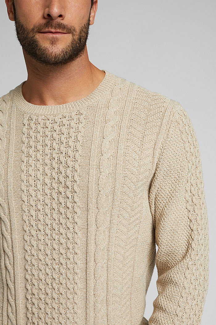 Recycled melange cable knit jumper, LIGHT BEIGE, detail image number 2