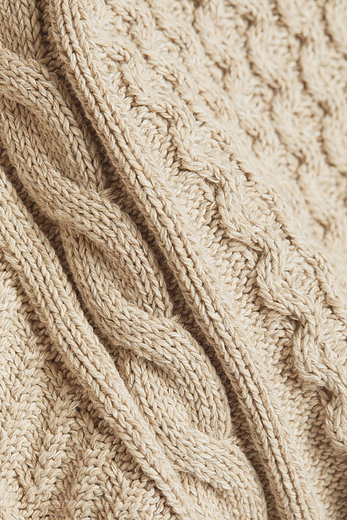 Recycled melange cable knit jumper, LIGHT BEIGE, detail image number 4
