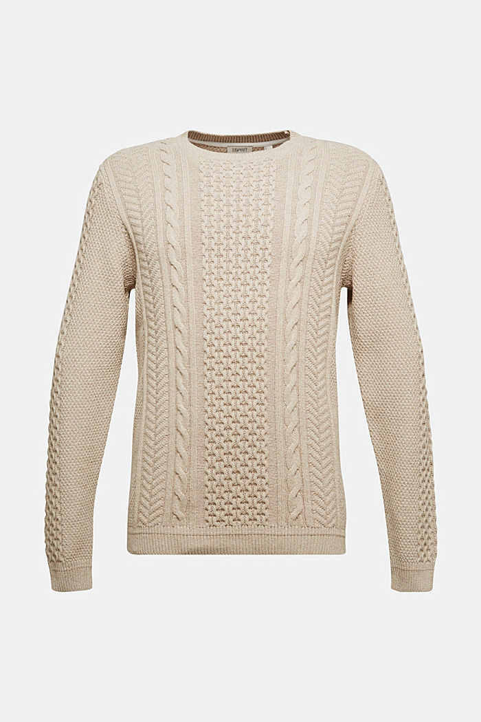 Recycled melange cable knit jumper, LIGHT BEIGE, detail image number 5