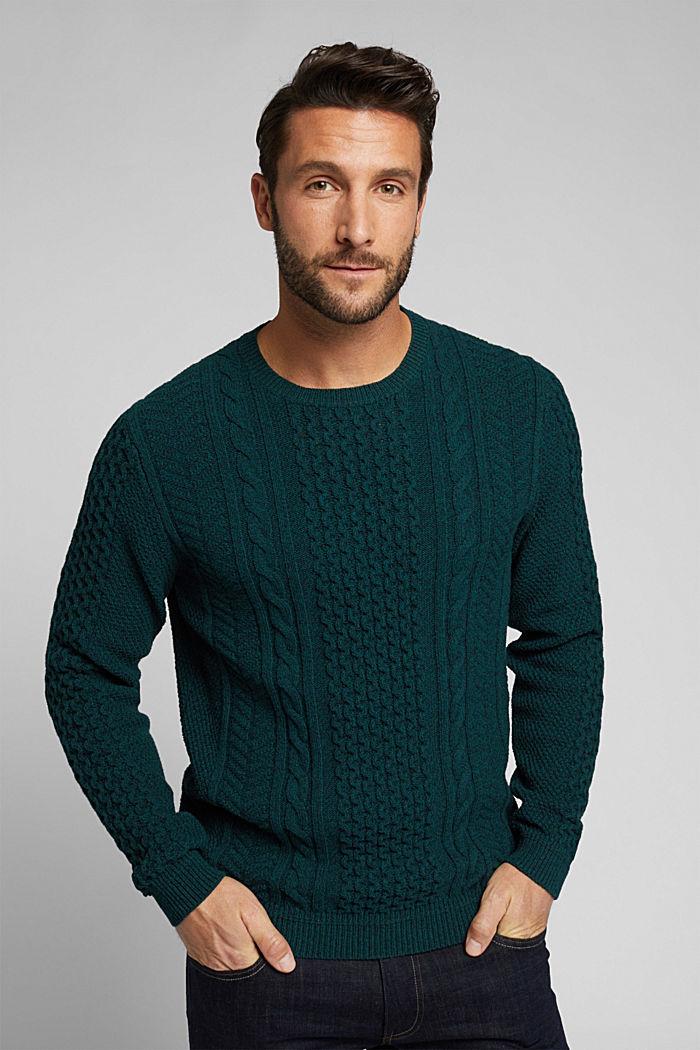 Recycled melange cable knit jumper, BOTTLE GREEN, detail image number 0