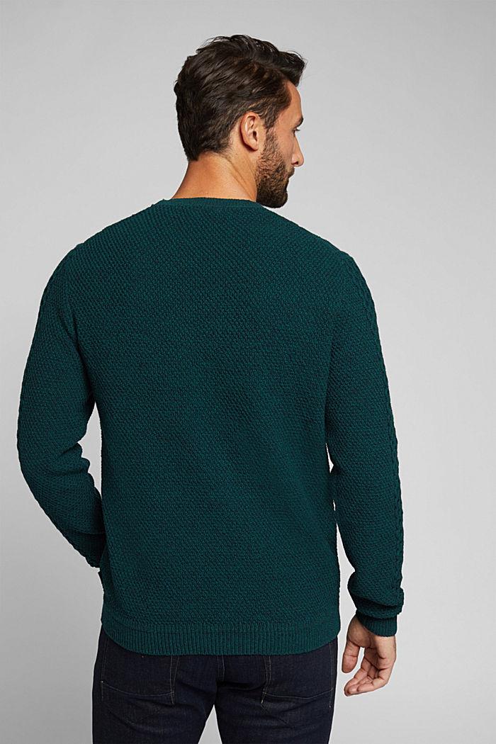 Recycled melange cable knit jumper, BOTTLE GREEN, detail image number 3