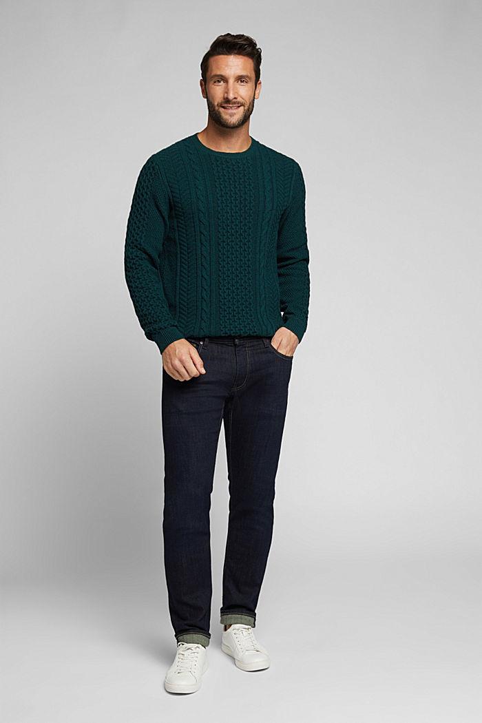 Recycled melange cable knit jumper, BOTTLE GREEN, detail image number 1