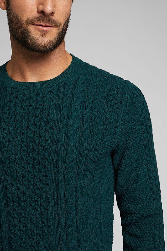 Recycled melange cable knit jumper, BOTTLE GREEN, detail image number 2