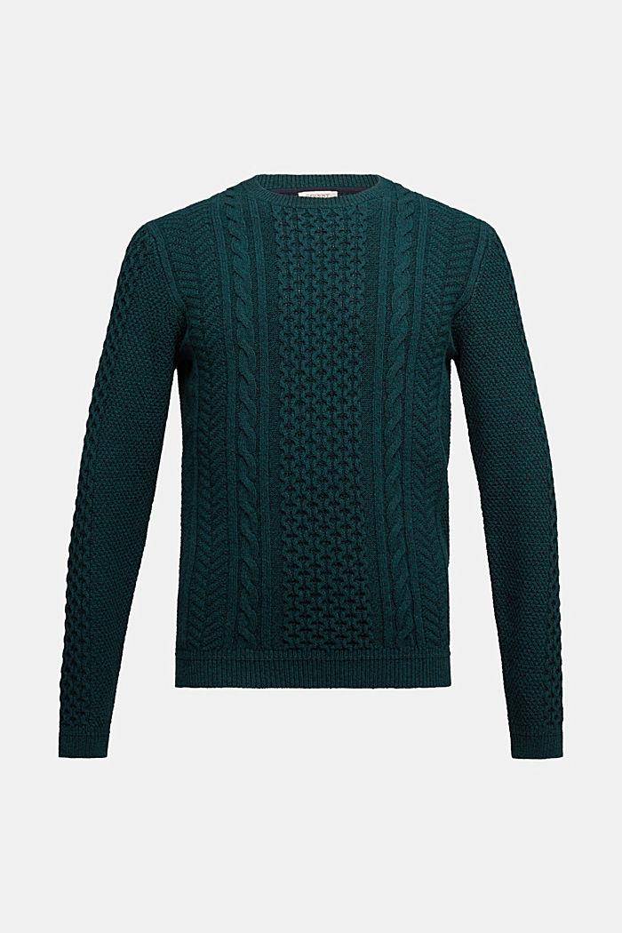 Recycled melange cable knit jumper, BOTTLE GREEN, detail image number 5
