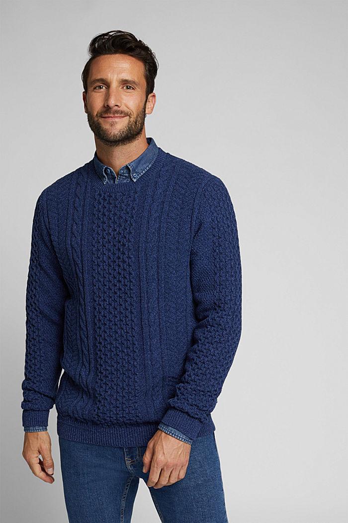 Recycled melange cable knit jumper, INK, detail image number 0