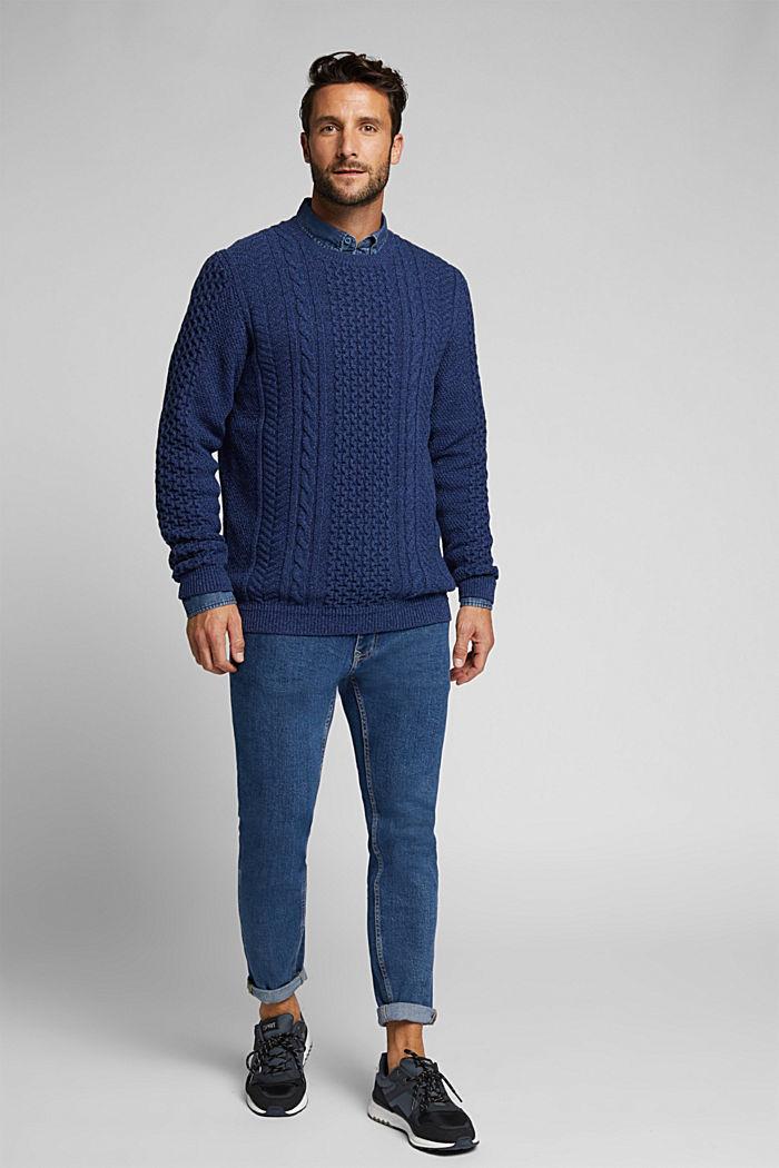 Recycled melange cable knit jumper, INK, detail image number 1
