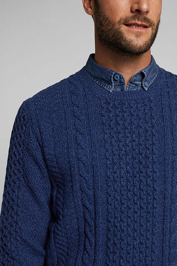 Recycled melange cable knit jumper, INK, detail image number 2