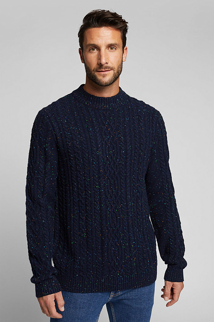 Wool blend: textured jumper with colourful dimples, NAVY, detail image number 0