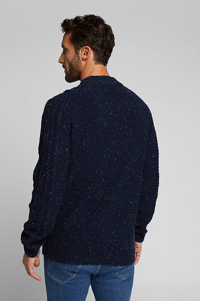 Wool blend: textured jumper with colourful dimples, NAVY, detail image number 3