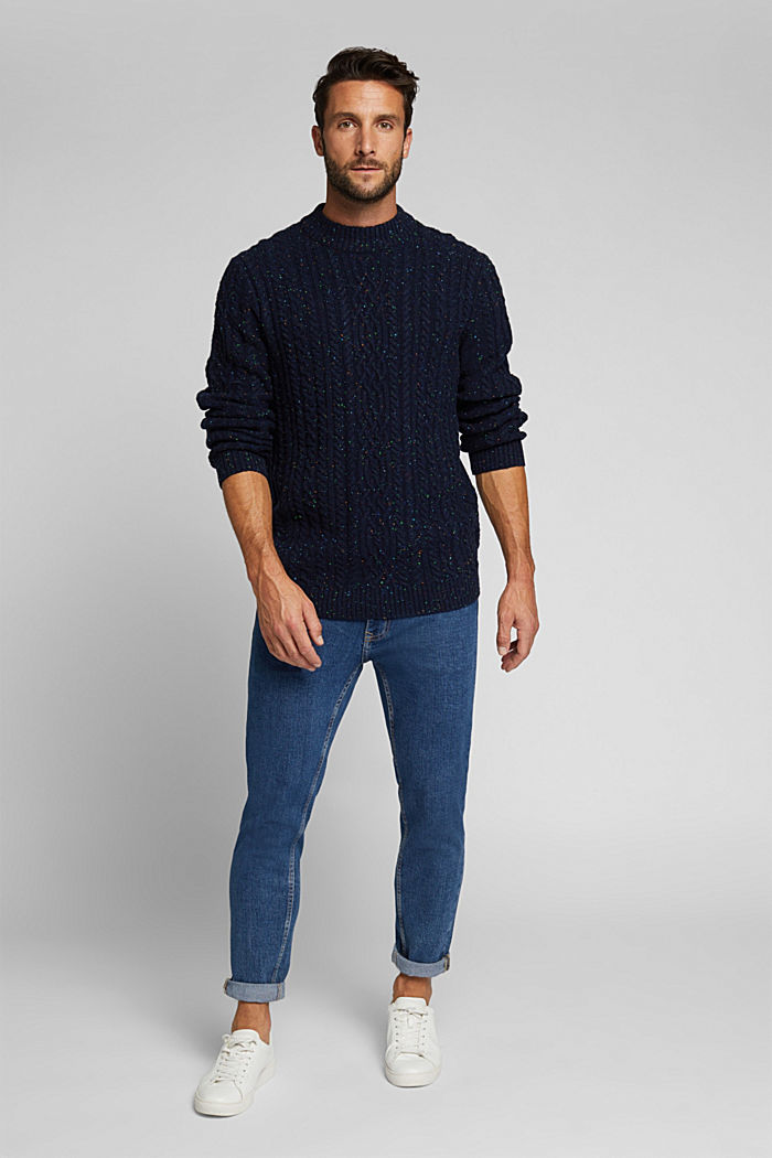 Wool blend: textured jumper with colourful dimples, NAVY, detail image number 1